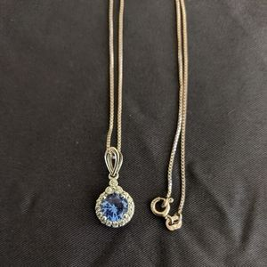 Blue topaz necklace diamond accent sterling silver